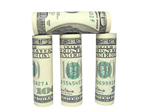 Fotos Geld Geldscheine Dollars Weißer hintergrund