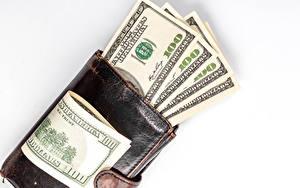 Fotos Geld Banknoten Dollars Weißer hintergrund