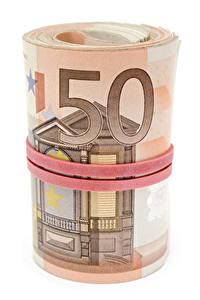 Fotos Geld Banknoten Euro Weißer hintergrund 50