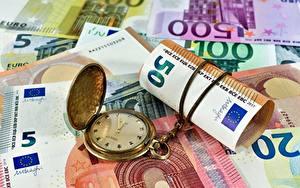Bilder Geld Banknoten Euro Uhr Taschenuhr