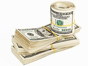 Fotos Geld Dollars Weißer hintergrund