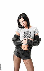 Desktop hintergrundbilder Monika Benz iStripper Weißer hintergrund Brünette Starren Hand Jacke Shorts Strumpfhose Mädchens