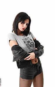 Bilder Monika Benz iStripper Weißer hintergrund Brünette Jacke Blick Hand Shorts Latex Strumpfhose junge frau