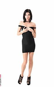 Fotos Monika Benz iStripper Weißer hintergrund Brünette Hand Kleid Schwarz Bein Stöckelschuh