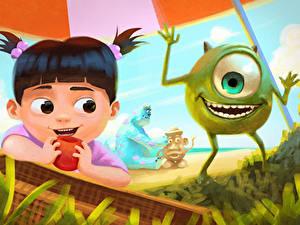 Hintergrundbilder Die Monster AG Kleine Mädchen Strand Gras Lächeln Pixar