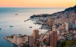 Desktop hintergrundbilder Monte-Carlo Monaco Haus Küste Schiffe Von oben Horizont Städte