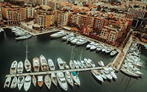 Bilder Monte-Carlo Monaco Bootssteg Yacht Von oben Städte
