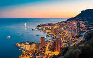 Hintergrundbilder Monte-Carlo Monaco Morgendämmerung und Sonnenuntergang Küste Städte