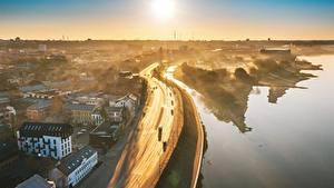 Hintergrundbilder Morgen Straße Litauen Kaunas Von oben Nebel Städte