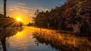 Bilder Morgen Sonnenaufgänge und Sonnenuntergänge Flusse Nebel Lichtstrahl Sonne