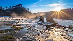 Bilder Morgen Wasserfall Schweiz Fluss Sonne Lichtstrahl Rheinfall, Schaffhausen Natur