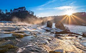 Bilder Morgen Wasserfall Schweiz Fluss Sonne Lichtstrahl Rheinfall, Schaffhausen