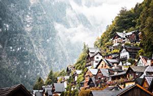Hintergrundbilder Gebirge Österreich Hallstatt Dorf Nebel Städte