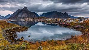 Wallpapers Mountains Coast Norway Lofoten Bay Cities Nature