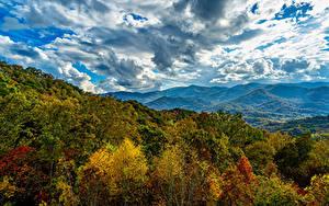 Bilder Berg Wälder Herbst Himmel Wolke HDRI Smoky Mountains