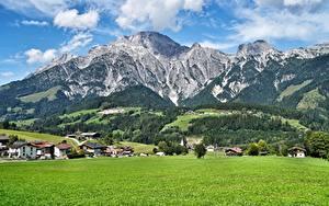 Fotos Gebirge Grünland Landschaftsfotografie Österreich Salzburg Dorf Leogang