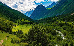 Hintergrundbilder Gebirge Wolke Bäume Issyk-Ata Gorge, Kyrgyzstan