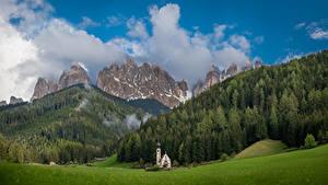 Hintergrundbilder Berg Italien Bäume Wolke Bolzano, Dolomites