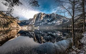 Hintergrundbilder Berg See Österreich Landschaftsfotografie Bäume Spiegelung Spiegelbild Altaussee, Styria