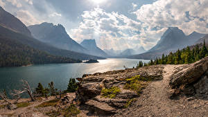 Fotos Gebirge See Vereinigte Staaten Landschaftsfotografie Bäume Wolke Saint Mary Lake