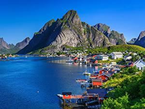Fotos Berg Lofoten Norwegen Küste Gebäude  Natur