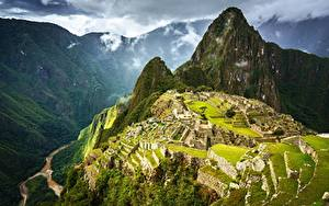Hintergrundbilder Gebirge Peru Ruinen Von oben Machu Picchu, Urubamba Province Natur