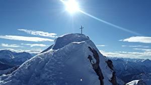 Fotos Gebirge Himmel Felsen Schnee Sonne Kreuz