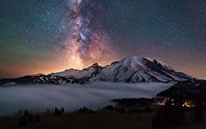 Bilder Gebirge Stern Himmel Landschaftsfotografie Vereinigte Staaten Washington Cascades, Mount Rainier