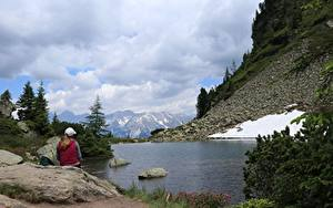 Images Mountains Stones Lake Germany Alps Sitting Snow Dachstein Nature Girls