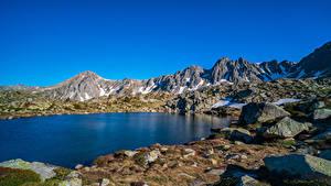 Hintergrundbilder Gebirge Steine See Himmel Felsen Grau Roig, Andorra Natur