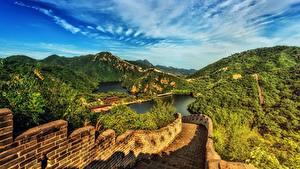 Hintergrundbilder China Gebirge Chinesische Mauer Landschaftsfotografie HDR Natur