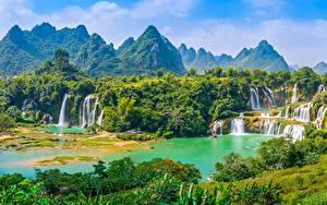 Fotos Berg Wasserfall Vietnam Fluss Wald Detian Waterfall, river Cuison