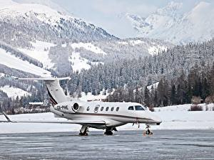 Image Mountains Winter Forests Airplane Switzerland Snow Dassault Falcon 50, St. Moritz, Airfield Aviation