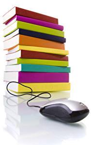 Fotos Maus computer Weißer hintergrund Buch