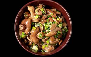 Hintergrundbilder Pilze Frühlingszwiebel Schwarzer Hintergrund das Essen