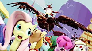 Bilder My Little Pony Deadpool Held Maschinengewehr Zeichentrickfilm 3D-Grafik