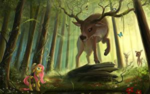 Wallpaper My Little Pony Deer Forests Horns