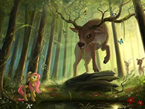 Bilder My Little Pony Hirsche Wälder Horn