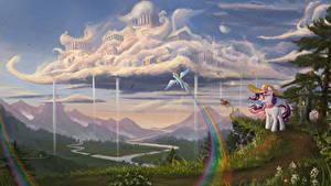Hintergrundbilder My Little Pony Fantastische Welt Gebirge Landschaftsfotografie Wolke