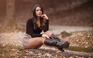 Hintergrundbilder Sitzen Stiefel Rock Bluse Blick Blatt Bokeh Braunhaarige Nadia junge Frauen