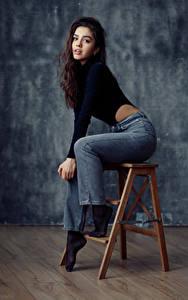 Hintergrundbilder Evgeniy Bulatov Model Sitzend Pose Starren Junge frau Nastya Goryaeva Mädchens