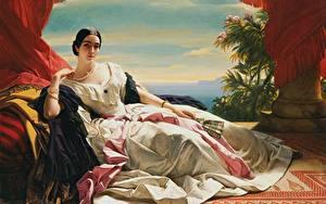Fotos Halsketten Gemälde Brünette Kleid Liegen Hand Fächer Franz Xaver Winterhalter, Princess Leonilla Mädchens