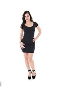 Bilder Nekane Sweet iStripper Weißer hintergrund Brünette Kleid Hand Bein High Heels Mädchens