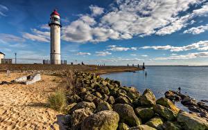Papel de Parede Desktop Países Baixos Costa Farol Nuvem Hellevoetsluis Naturaleza