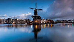 Hintergrundbilder Niederlande Abend Gebäude Mühle Bucht Papentorenvest, Haarlem Städte