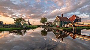 Hintergrundbilder Niederlande Haus Brücke Mühle Kanal Zaanse Schans Natur