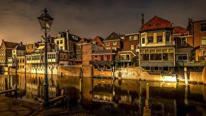 Fotos Niederlande Gebäude Abend Kanal Straßenlaterne Gorinchem