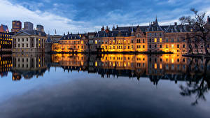 Desktop wallpapers Netherlands Houses Pond The Hague, Hofvijver Cities