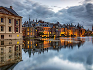Pictures Netherlands Houses Pond Clouds Reflection The Hague, Hofvijver Cities