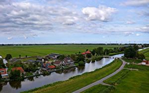 Bilder Niederlande Haus Fluss Brücken Seebrücke Oudendijk Städte